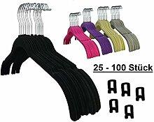 RSR Hangers 100 Stück Kleiderbügel Samt Schwarz