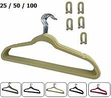 RSR Hangers 100 x Kleiderbügel Samt Beige