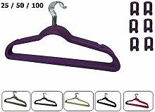 RSR Hangers 100 x Kleiderbügel Samt Lila Erweiterungshaken/Anti-Rutsch/Anzugbügel/platzsparend/Hemdenbügel/Blusenbügel/Jackenbügel/Rutschfest/360° drehbarer Haken/25-50 - 100 Stück