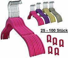 RSR Hangers 50 Stück Kleiderbügel Samt Pink +