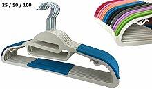 RSR Hangers 50 x Kunststoff Kleiderbügel Lila Antirutsch/hochwertiger Kunststoffkleiderbügel/360° drehbarer Haken/platzsparend/Hemden/Blusen/Jacken/Hosen/Kleider/Krawatten/25-50 - 100 Stück