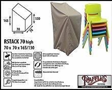 RSTACK70high Schutzhülle für Garten Stapelstühle, Box Modell Schutzhülle für Stapelstühle und Relaxsessel, Abdeckhaube für Gartenstühle