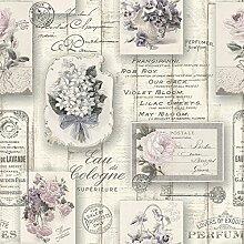 RT Tapete Vintage Holz Aqua Relief 4, 1 Stück, 10,5 x 0,53 m, floral grau / rosa, 855210