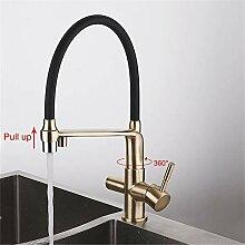 RTTGOR Wasserhahn Gold Küchenarmatur mit