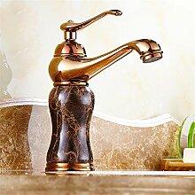 RTTGOR Wasserhahn Luxus Marmor goldenen Wasserhahn