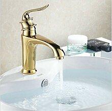 RTTGOR Wasserhahn Waschtischarmaturen Golden