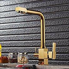 RTTGOR Wasserhahn Wasserfilterhahn Gold Farbe