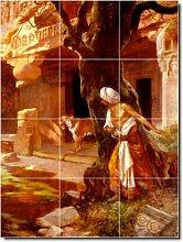 Rudolf Ernst historischen Wandfliesen Wandbild 4. 61x 81,3cm mit (12) 8x 8Keramik Fliesen.