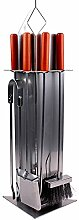 ruecab 1411Kamingarnitur Kamin mit 4Zubehör Metall grau 16,5x 27,5x 68cm