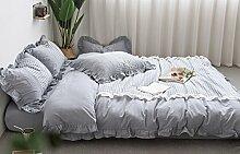 Ruffle Betten Sets Kaffee–memorecool Haustierhaus 100% Baumwolle Prinzessin Stil kariert Design Home Textiles Bettbezug und Bettlaken Full gescheckt, Königin (Queen), Blue and Flat, Queen