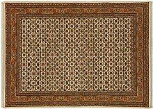Rug Studios Teppich Benaras Herati Indien Beige, 140 x 200 cm · Beige · handgeknüpft · Schurwolle · Klassisch · hochwertiger Teppich · RS84425