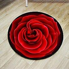 RUG XIA Teppich-runde Blumen-rotes einfaches