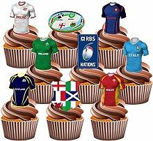 Rugby Six Nations Party Pack, Kuchen-Dekorationen–essbare Kuchendeko (36Stück)