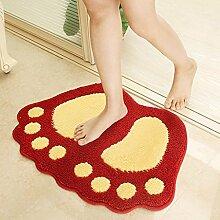 rugs Supermarket- Bad MatsNon Slip Microfaser Badematte Badematten Dusche Teppiche Teppich für Badewanne, Boden, Dusche Stall Fußmatten ( Farbe : Rot , größe : 40*60-2 )