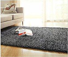 rugs Supermarket- Schlafzimmer Wohnzimmer Teppich, Modern Dick Nachttisch Büro Sofa Matte ( Farbe : Schwarz , größe : 70CM×160CM )