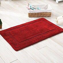 rugs Supermarket- Teppich doppelseitig Verdickung Pad Chenille Matten Fußmatte Badezimmer Wohnzimmer Mat ( Farbe : Rot , größe : 60*90cm )