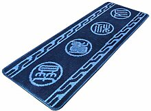 rugs Supermarket- Teppich Küche Bodenmatten Streifen Anti-Öl-Anti-Rutsch-Pad Home Badezimmer Die Tür-Matte Die Tür-Auflage ( Farbe : Blau , größe : 45*120cm )