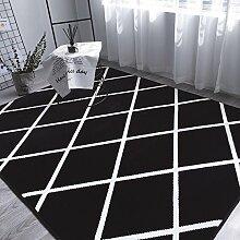 rugs Supermarket- Teppich - Schwarz Grau Plaid Sofa Teppich, 5x7 Solid und Dicke Antirust Gefrierschrank Wohnzimmer Teppich - rutschfester Teppich ( Farbe : Schwarz , größe : 1.5*1.9m )