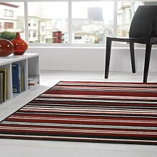 Rugs With Flair Teppich Element Canterbury - gestreift - Rot/Schwarz - 160 x 220 cm