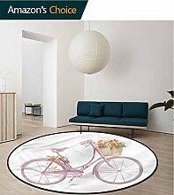 RUGSMAT Fahrrad-Teppich, rund, rosa