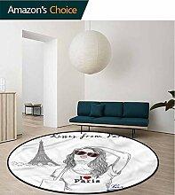 RUGSMAT Mädchen-Teppich, rund, wendbar,