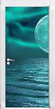 ruhiges Meer mit Vollmond schwarz/weiß als Türtapete, Format: 200x90cm, Türbild, Türaufkleber, Tür Deko, Türsticker