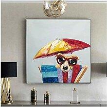 RuiChuangKeJi Bilddrucke 80x80cm Mit Rahmen Hund