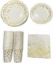 RUINAIER Gold Dot Einwegbecher, Pappteller,