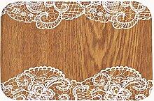 ruiuiui Rustikal Scheune, Holz verziert von weiß Spitzen-Coral Fleece Badteppich Bereich Teppich Fußmatte Eingang Teppich Fußmatten für Vorderseite Außen Türen Eintrag Teppich, Korallenvlies, 20''x31.5''(50x80cm)