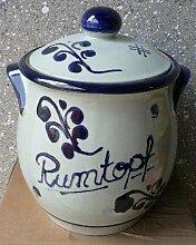 Rumtopf aus Keramik grau-blau