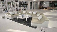 Rund-Sofa mit Bezug aus creme / weißem Kunstleder