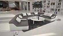 Rund-Sofa mit Bezug aus grau / weißem Kunstleder 410x272 cm halbrund | Catoca | Designer Wohnlandschaft im XXL Format Recamiere links | Couch-Garnitur für Wohnzimmer grau / weiss 410cm x 272cm