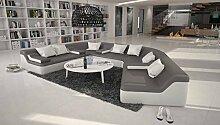 Rund-Sofa mit Bezug aus grau / weißem Kunstleder
