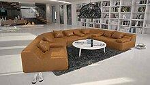 Rund-Sofa mit Bezug aus hellbraunem Microfaser