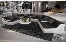 Rund-Sofa mit Bezug aus schwarz / weißem