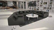 Rund-Sofa mit Bezug aus schwarzem Kunstleder 410x272 cm halbrund | Catoca | Designer Wohnlandschaft im XXL Format Recamiere links | Couch-Garnitur für Wohnzimmer schwarz 410cm x 272cm