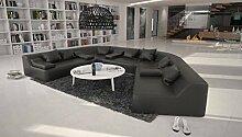 Rund-Sofa mit Bezug aus schwarzem Kunstleder