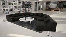 Rund-Sofa mit Bezug aus schwarzem Microfaser