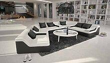 Rund-Sofa mit Bezug aus weiß / schwarzem