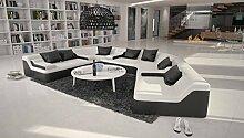 Rund-Sofa mit Bezug aus weiß / schwarzem Kunstleder 410x272 cm halbrund | Catoca | Designer Wohnlandschaft im XXL Format Recamiere rechts | Couch-Garnitur für Wohnzimmer weiss / schwarz 410cm x 272cm