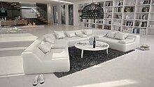 Rund-Sofa mit Bezug aus weißem Kunstleder 410x272