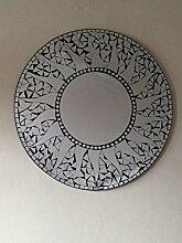 Rund, Sonne Mosaik Spiegel, schwarz/silber. Fair Trade. Hand Made. 60cms ca.