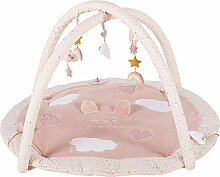 Runde Babyspieldecke aus Baumwolle, rosa und