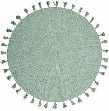 Runde Baumwollteppich mit Quasten, grün D100