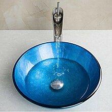 Runde blau gehärtetes Glas Waschbecken