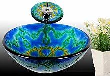 Runde Blau Rund Waschbecken aus Sekuritglas mit Wasserfall Wasserhahn