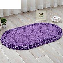 Runde Chenille Matte Haushalt Fußmatten Küche WC Badezimmer Badematte Wohnzimmer saugfähige Matte-C 45x70cm(18x28inch)