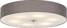 Runde Deckenleuchte grau 70 cm - Trommel