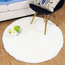 Runde Dekoration Volltonfarbe Teppich,Schlafzimmer Bett] Teppich Zukissen Wohnzimmer Teppich-Q Durchmesser100cm(39inch)