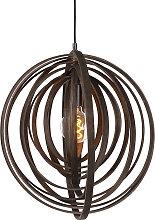 Runde Design-Pendelleuchte braun Holz - Arrange